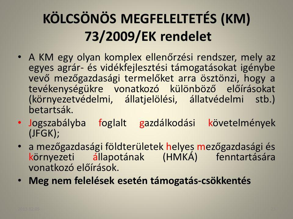 KÖLCSÖNÖS MEGFELELTETÉS (KM) 73/2009/EK rendelet