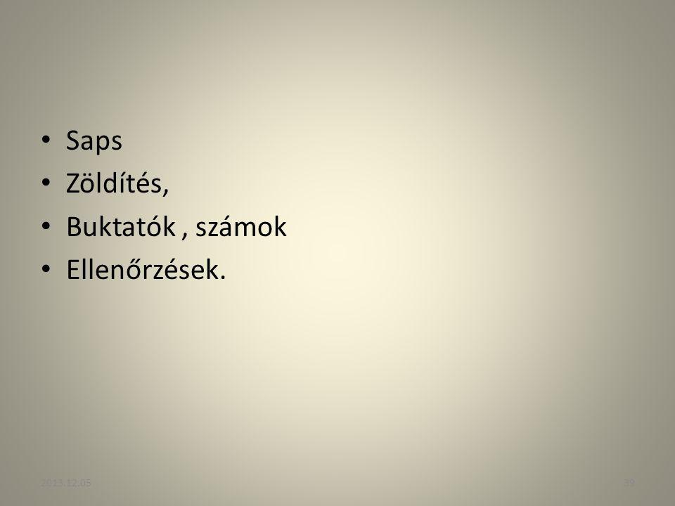 Saps Zöldítés, Buktatók , számok Ellenőrzések. 2013.12.05