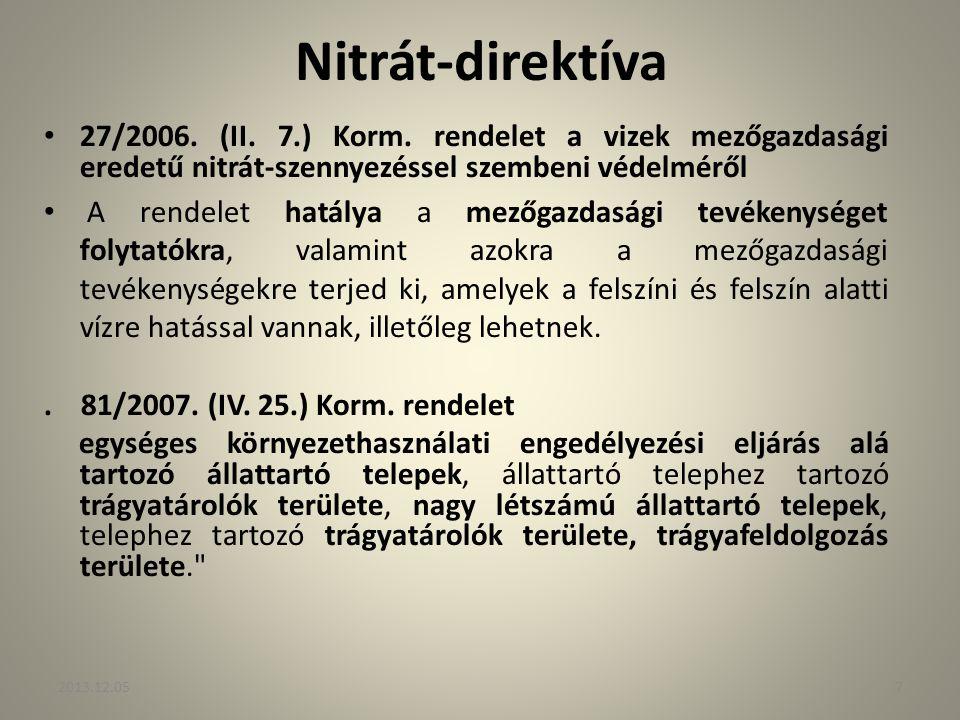 Nitrát-direktíva 27/2006. (II. 7.) Korm. rendelet a vizek mezőgazdasági eredetű nitrát-szennyezéssel szembeni védelméről.