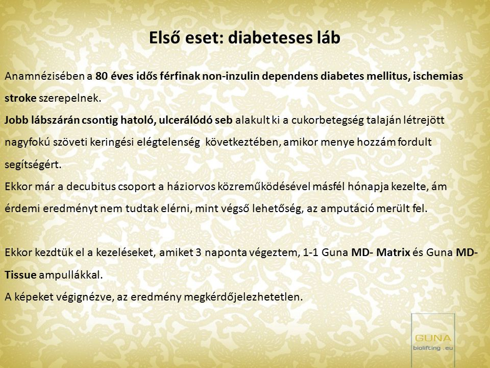 Első eset: diabeteses láb
