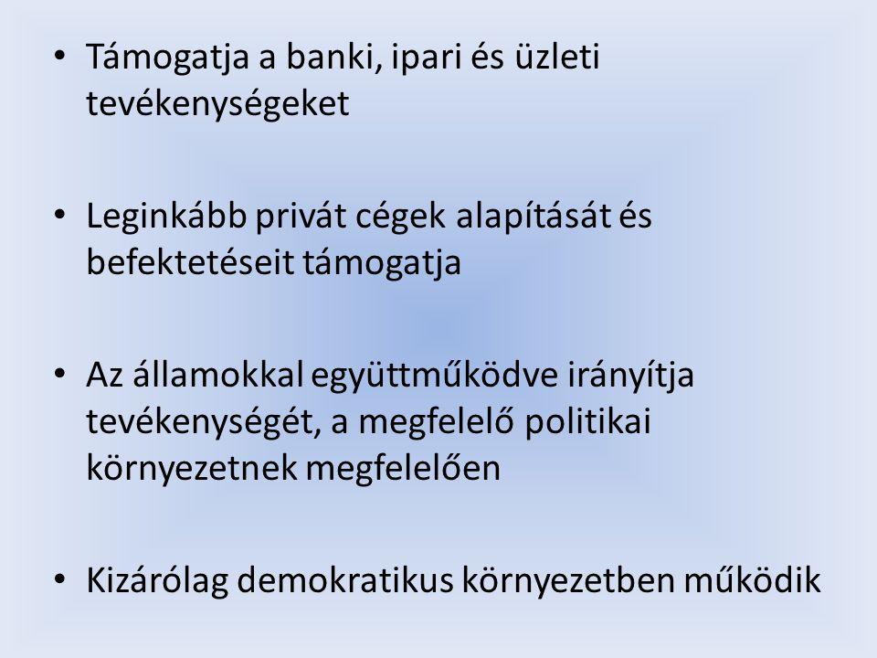 Támogatja a banki, ipari és üzleti tevékenységeket