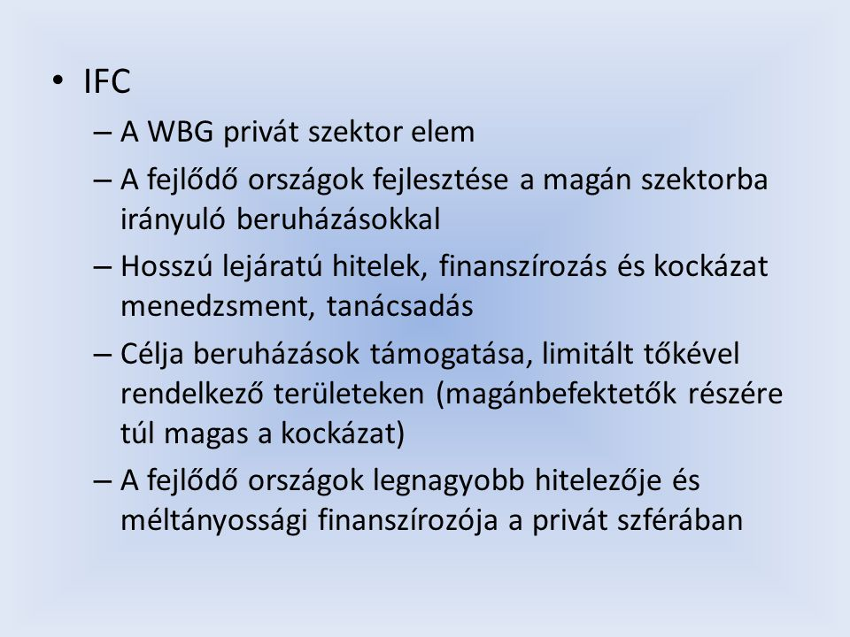 IFC A WBG privát szektor elem