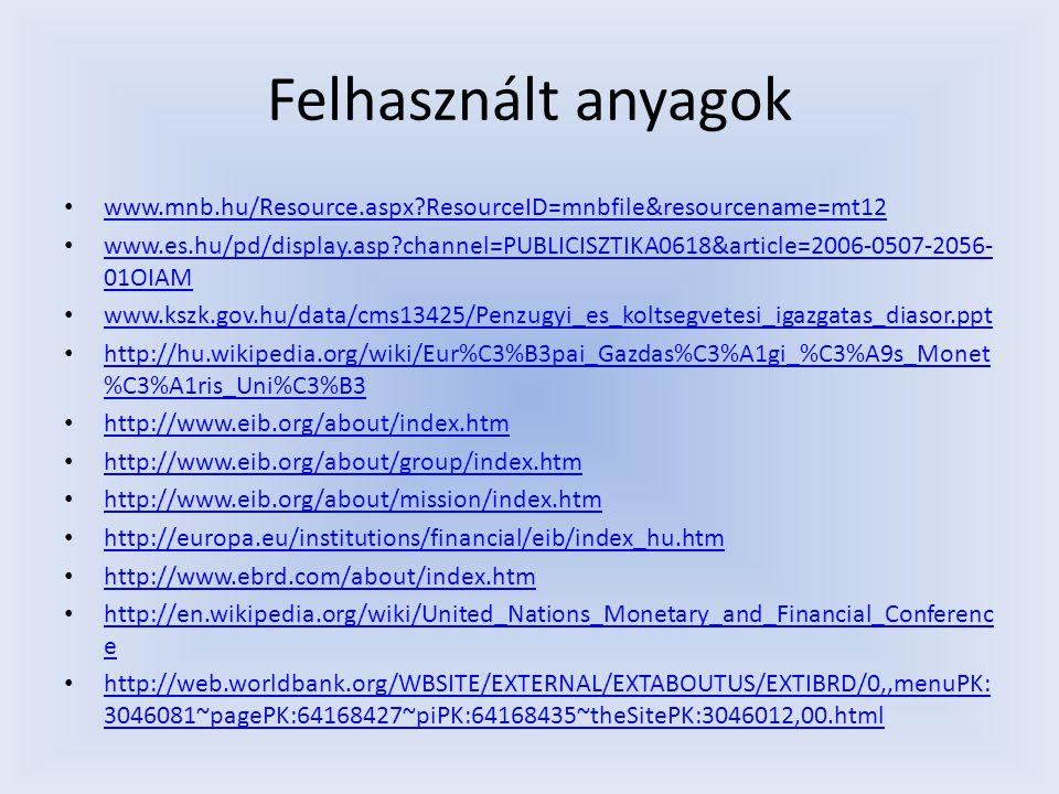 Felhasznált anyagok www.mnb.hu/Resource.aspx ResourceID=mnbfile&resourcename=mt12.