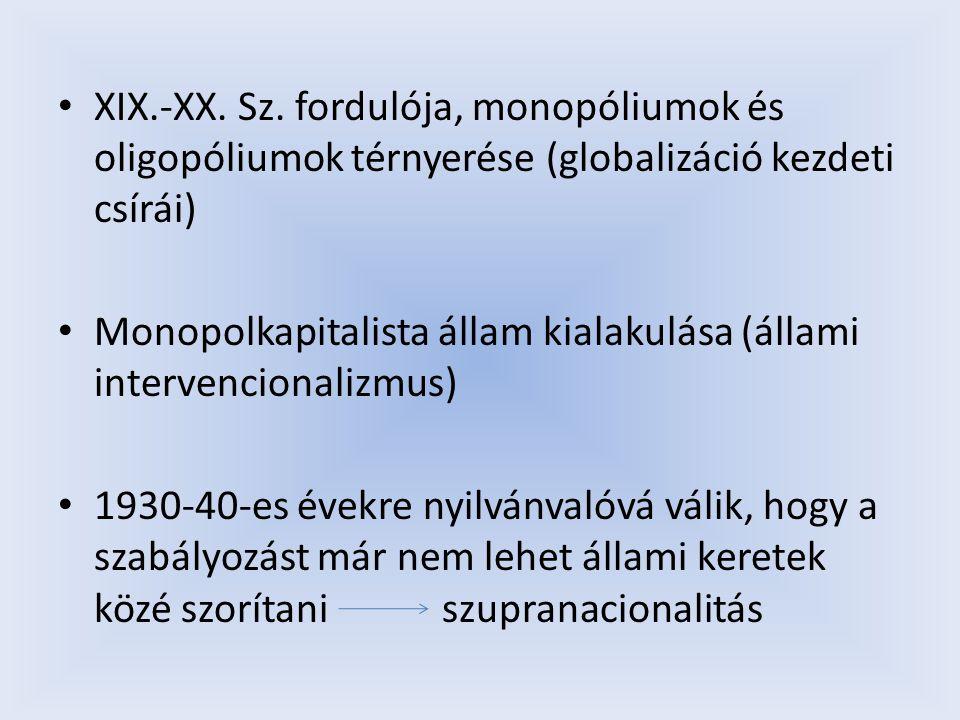 XIX.-XX. Sz. fordulója, monopóliumok és oligopóliumok térnyerése (globalizáció kezdeti csírái)