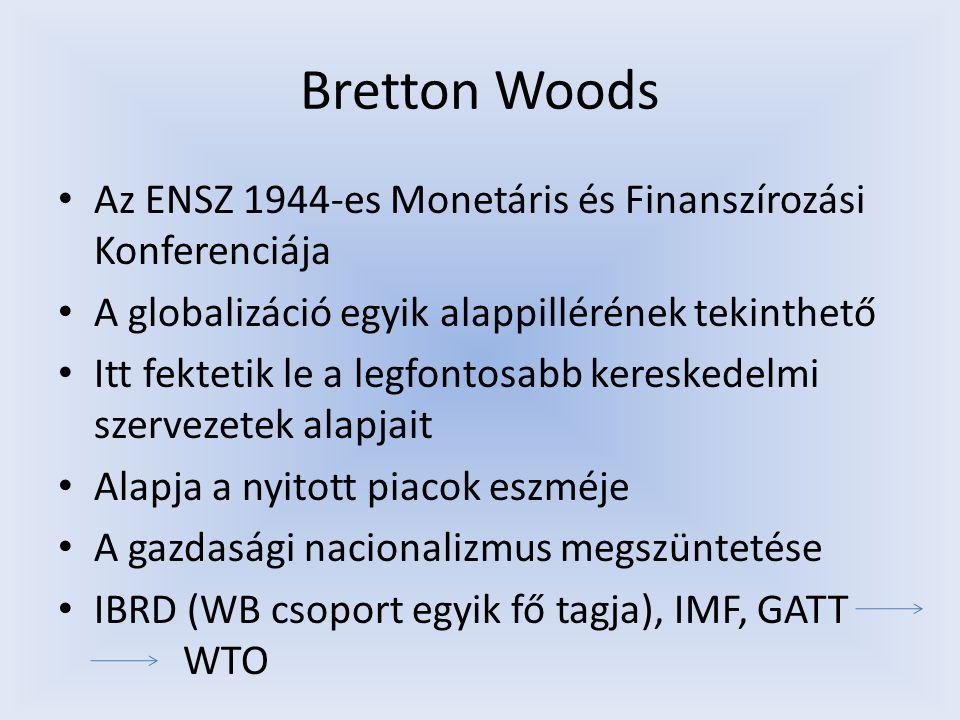 Bretton Woods Az ENSZ 1944-es Monetáris és Finanszírozási Konferenciája. A globalizáció egyik alappillérének tekinthető.