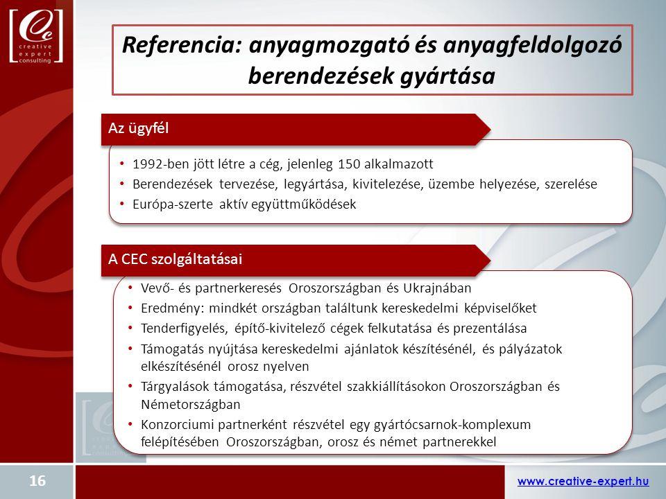 Referencia: anyagmozgató és anyagfeldolgozó berendezések gyártása