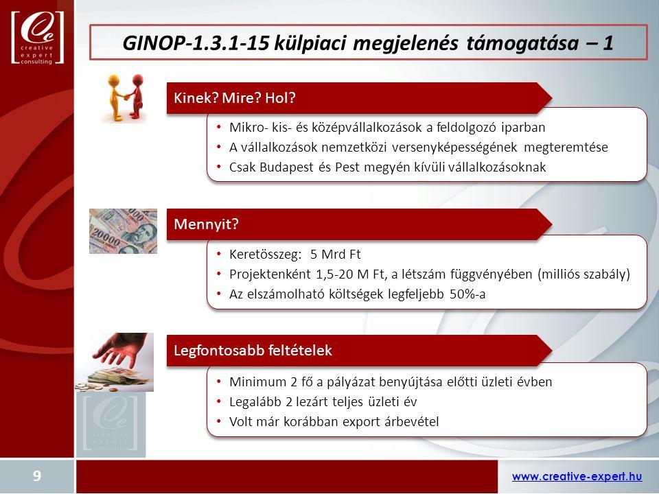 GINOP-1.3.1-15 külpiaci megjelenés támogatása – 1
