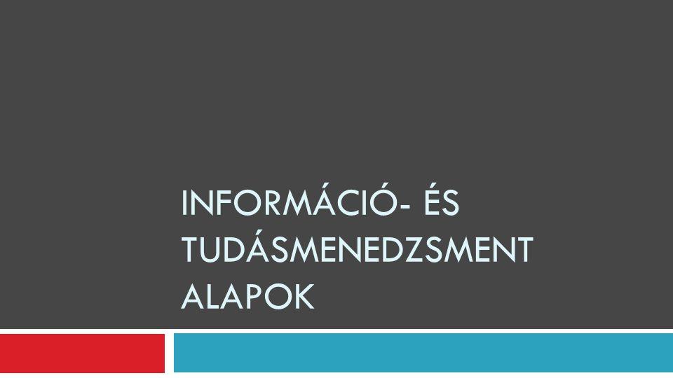 Információ- és tudásmenedzsment alapok