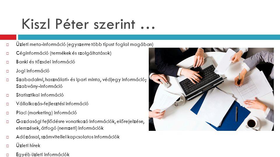 Kiszl Péter szerint … Üzleti meta-információ (egyszerre több típust foglal magában) Céginformáció (termékek és szolgáltatások)