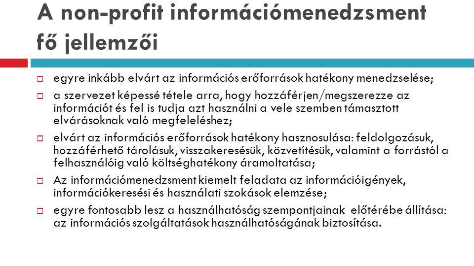 A non-profit információmenedzsment fő jellemzői