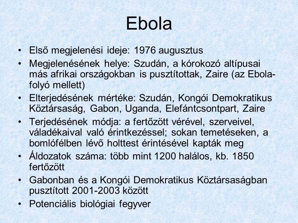 Ebola Első megjelenési ideje: 1976 augusztus