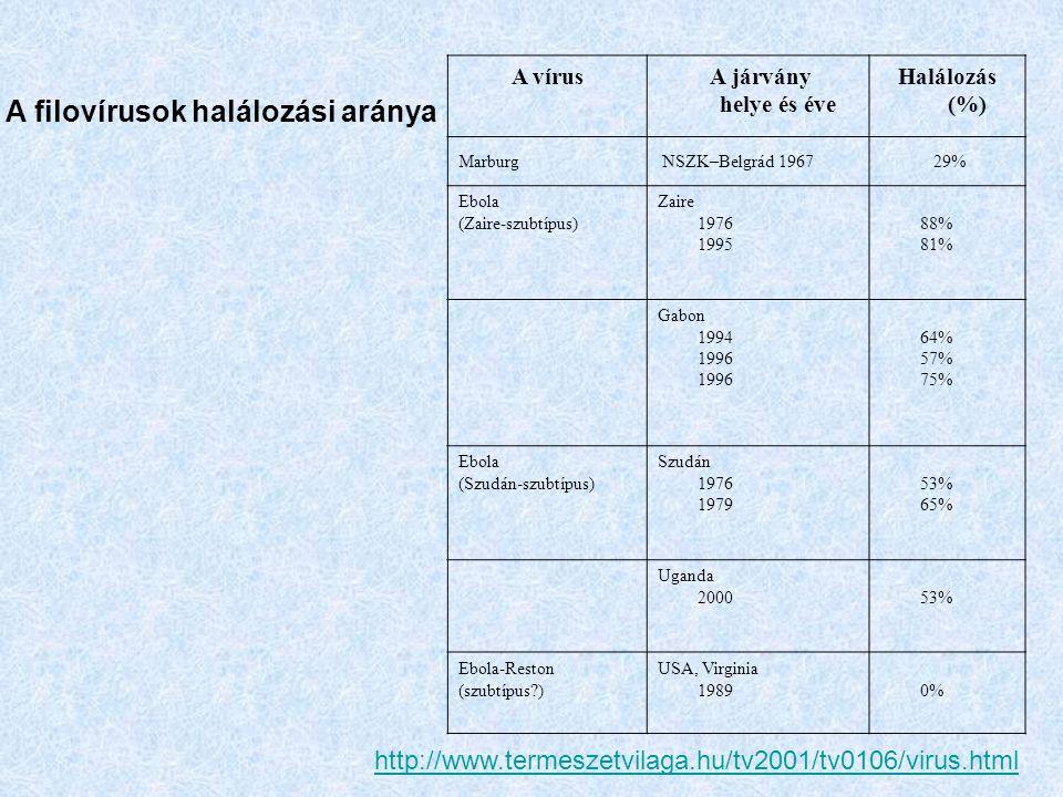 A filovírusok halálozási aránya