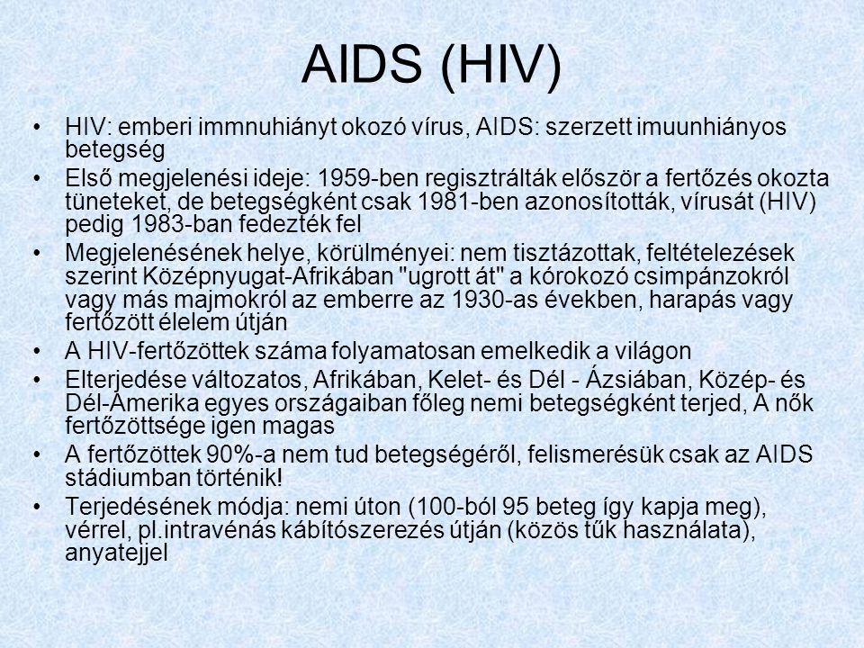 AIDS (HIV) HIV: emberi immnuhiányt okozó vírus, AIDS: szerzett imuunhiányos betegség.
