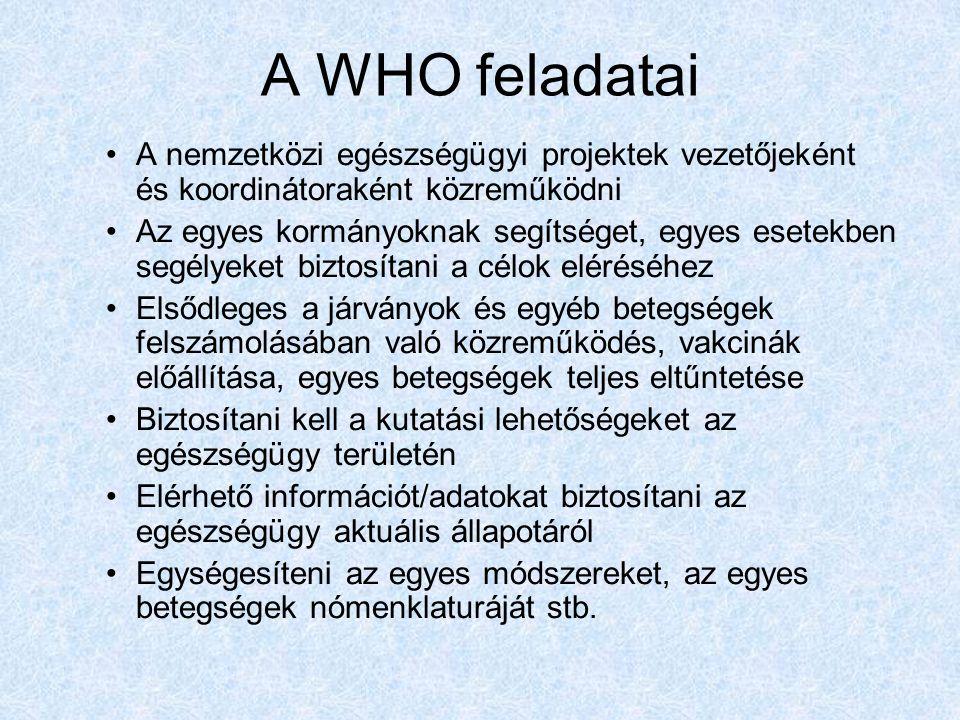A WHO feladatai A nemzetközi egészségügyi projektek vezetőjeként és koordinátoraként közreműködni.