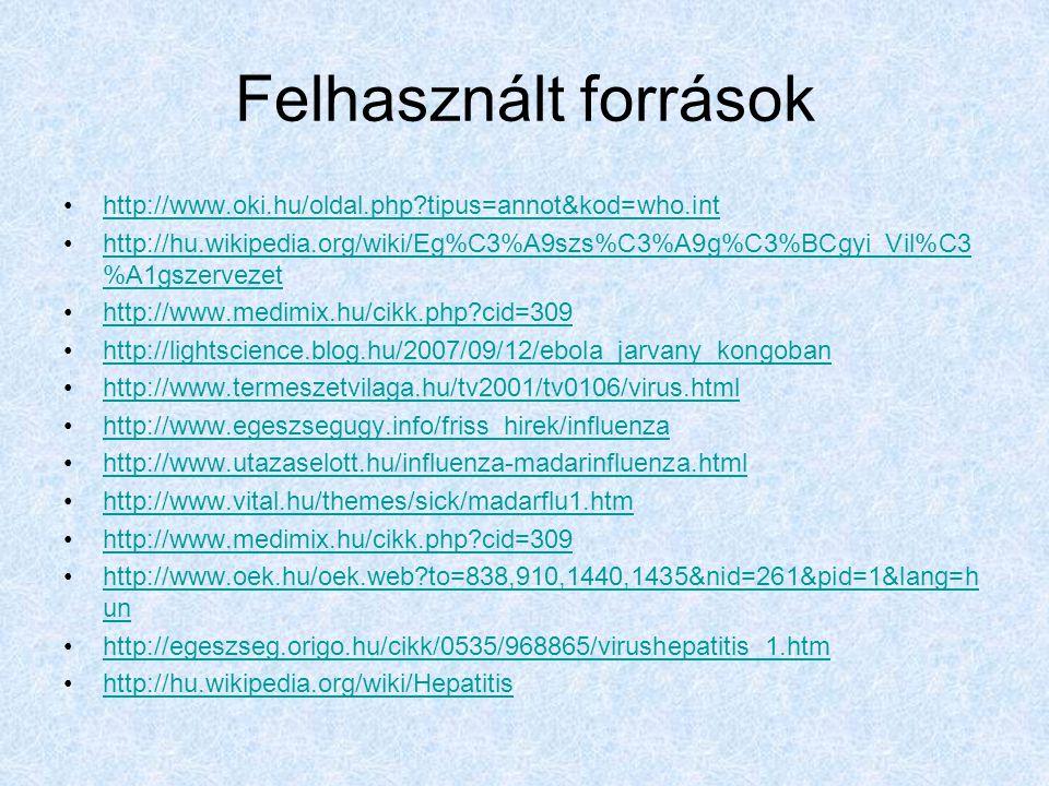 Felhasznált források http://www.oki.hu/oldal.php tipus=annot&kod=who.int.