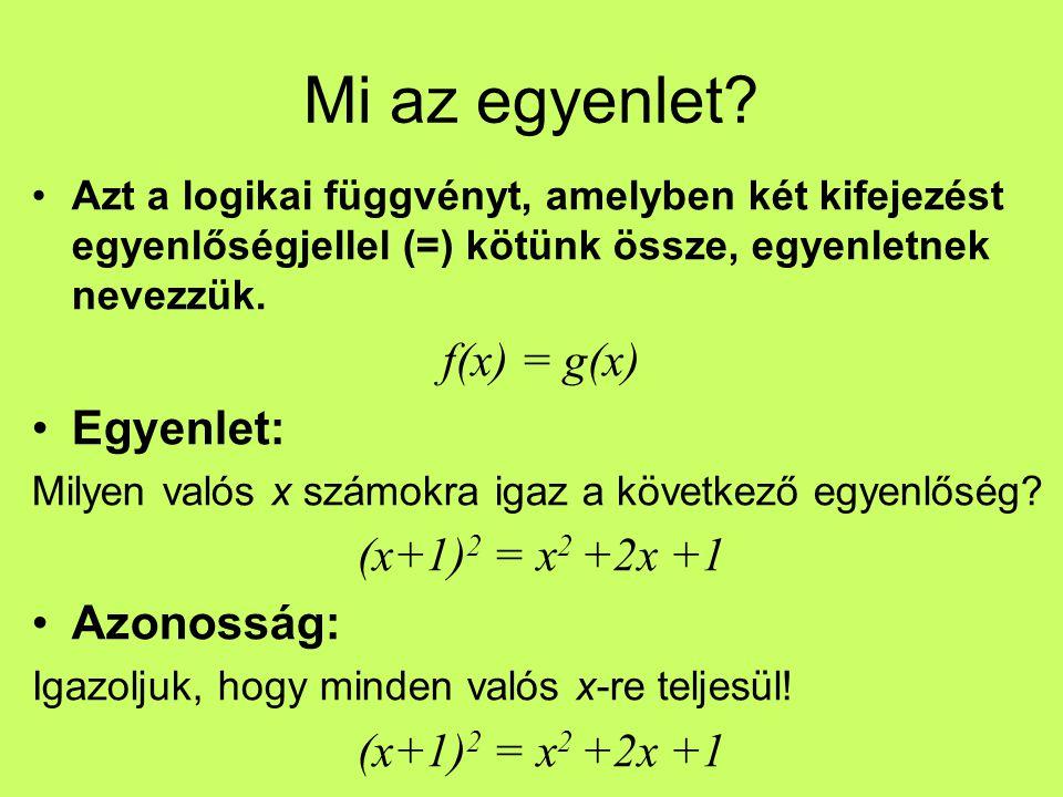 Mi az egyenlet f(x) = g(x) Egyenlet: (x+1)2 = x2 +2x +1 Azonosság: