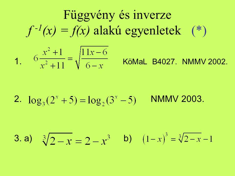 Függvény és inverze f -1(x) = f(x) alakú egyenletek (*)