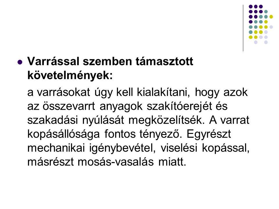 Varrással szemben támasztott követelmények: