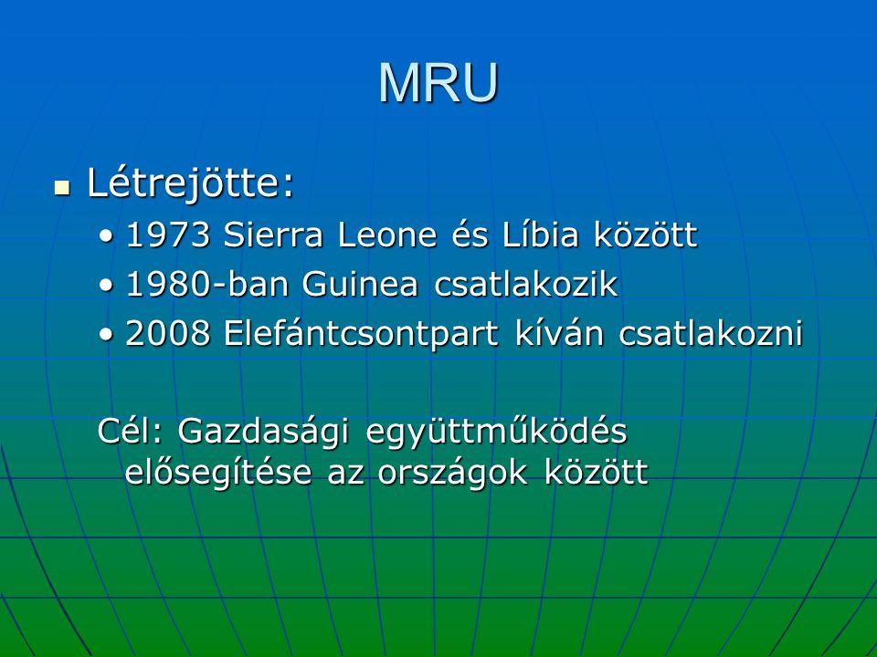 MRU Létrejötte: 1973 Sierra Leone és Líbia között