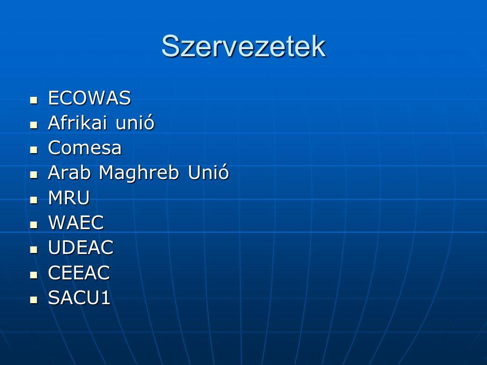 Szervezetek ECOWAS Afrikai unió Comesa Arab Maghreb Unió MRU WAEC