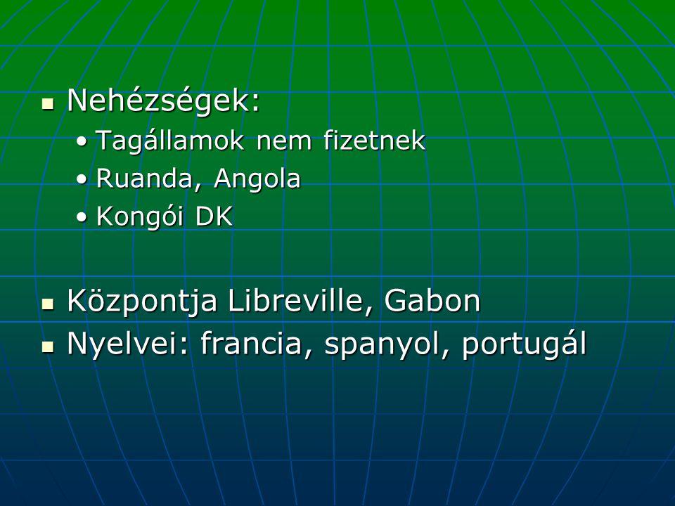Központja Libreville, Gabon Nyelvei: francia, spanyol, portugál