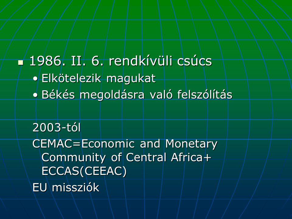 1986. II. 6. rendkívüli csúcs Elkötelezik magukat