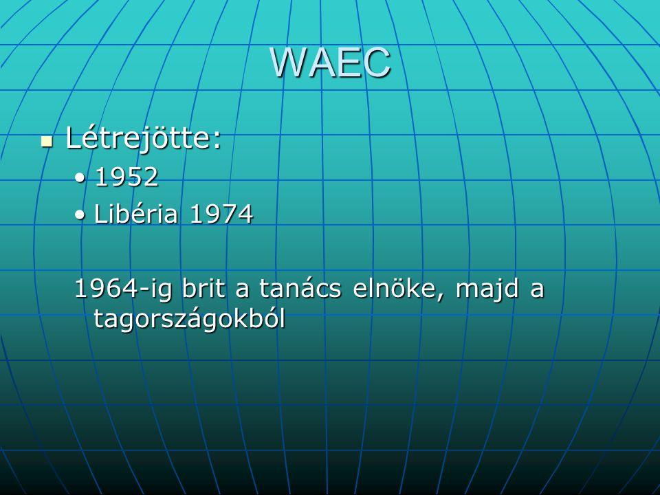 WAEC Létrejötte: 1952 Libéria 1974