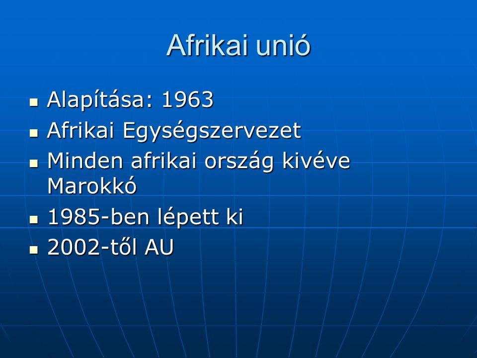 Afrikai unió Alapítása: 1963 Afrikai Egységszervezet
