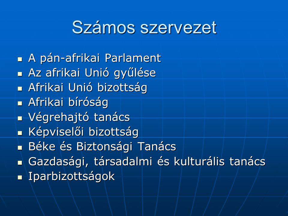 Számos szervezet A pán-afrikai Parlament Az afrikai Unió gyűlése