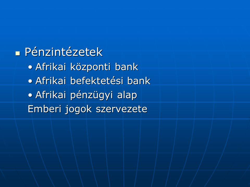 Pénzintézetek Afrikai központi bank Afrikai befektetési bank
