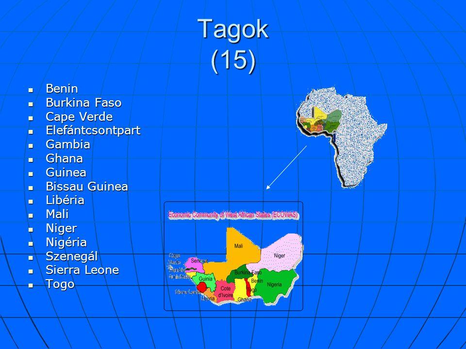 Tagok (15) Benin Burkina Faso Cape Verde Elefántcsontpart Gambia Ghana