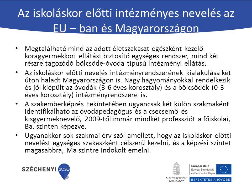 Az iskoláskor előtti intézményes nevelés az EU – ban és Magyarországon
