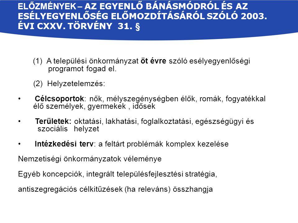 Előzmények – Az egyenlő bánásmódról és az esélyegyenlőség előmozdításáról szóló 2003. évi CXXV. törvény 31. §