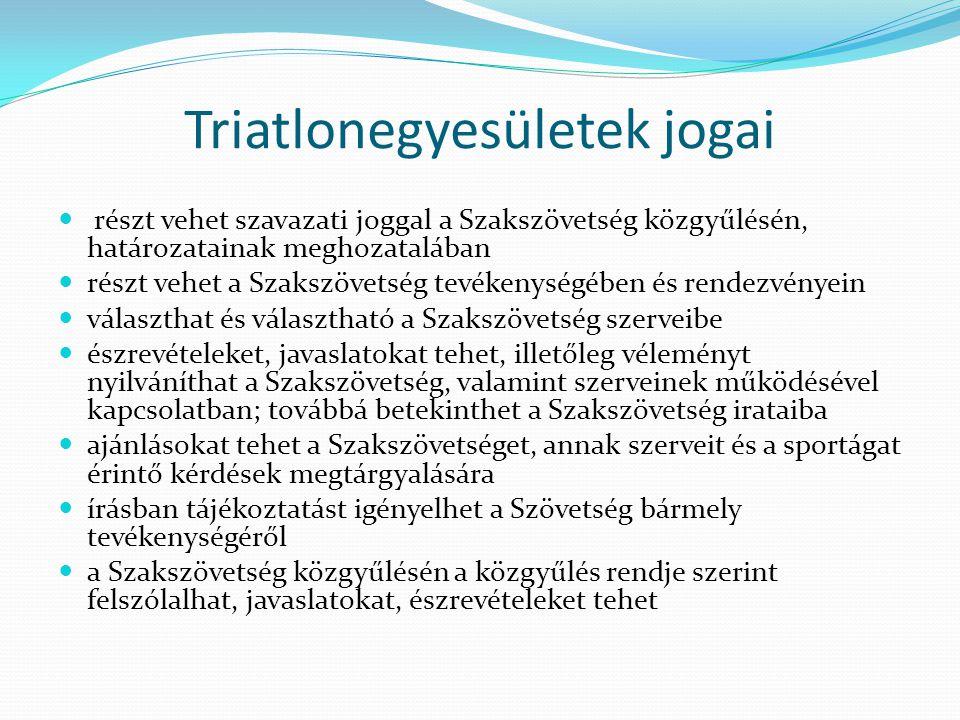 Triatlonegyesületek jogai