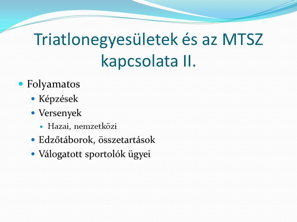 Triatlonegyesületek és az MTSZ kapcsolata II.