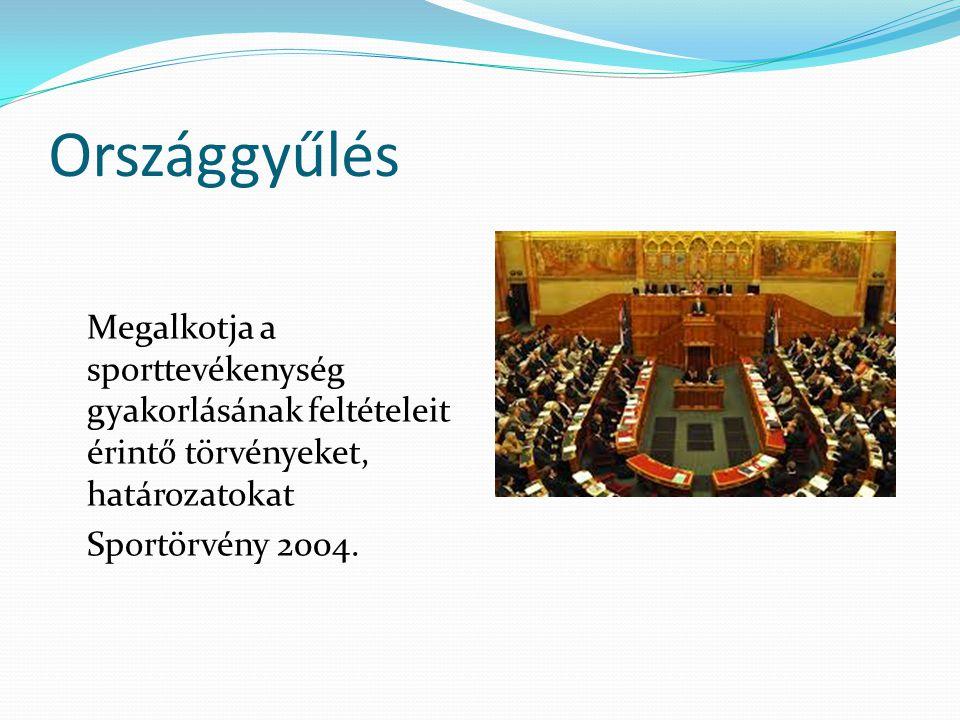 Országgyűlés Megalkotja a sporttevékenység gyakorlásának feltételeit érintő törvényeket, határozatokat.