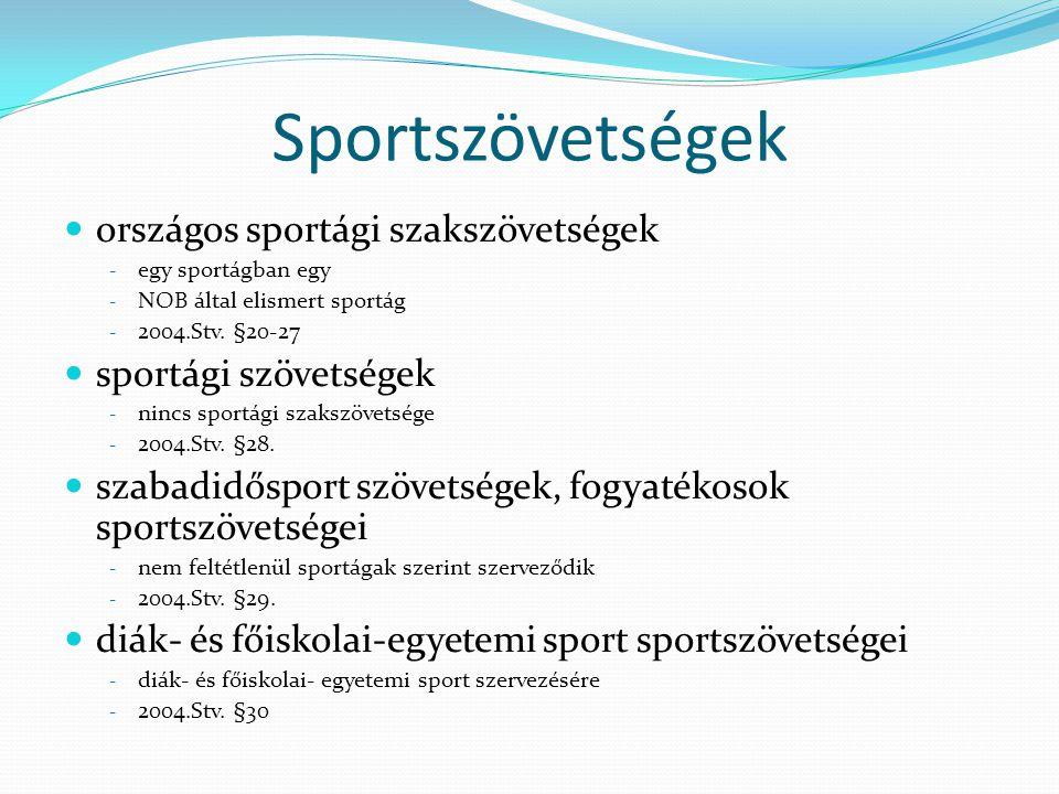 Sportszövetségek országos sportági szakszövetségek
