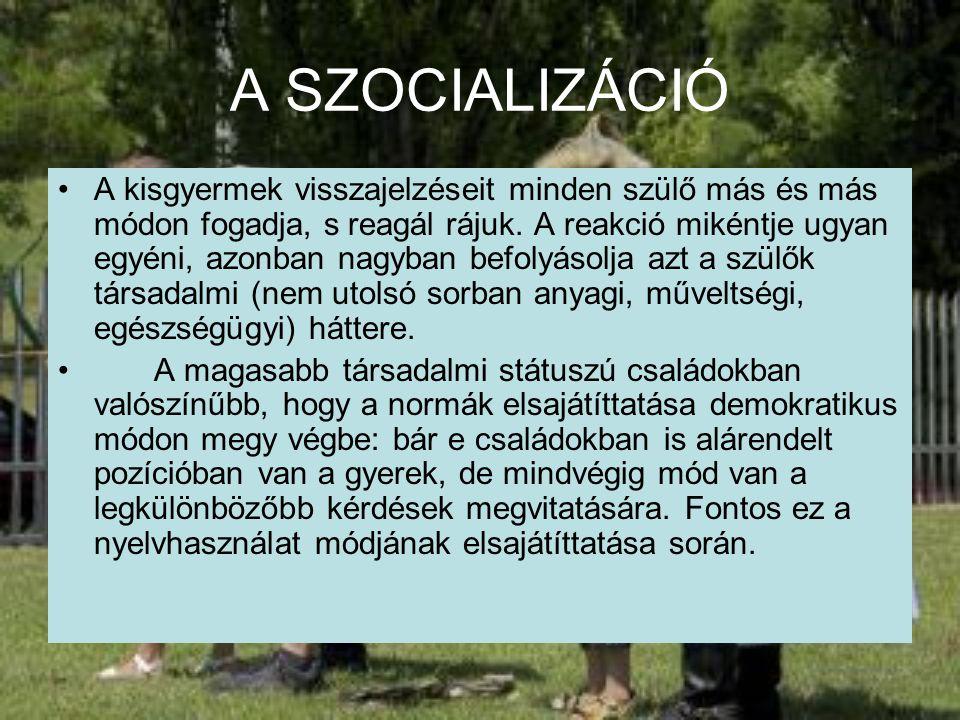 A SZOCIALIZÁCIÓ