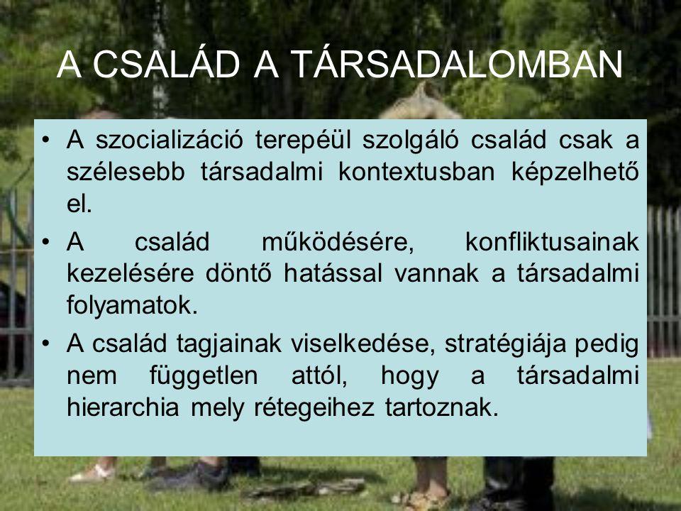 A CSALÁD A TÁRSADALOMBAN