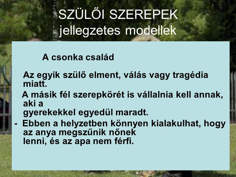SZÜLŐI SZEREPEK jellegzetes modellek