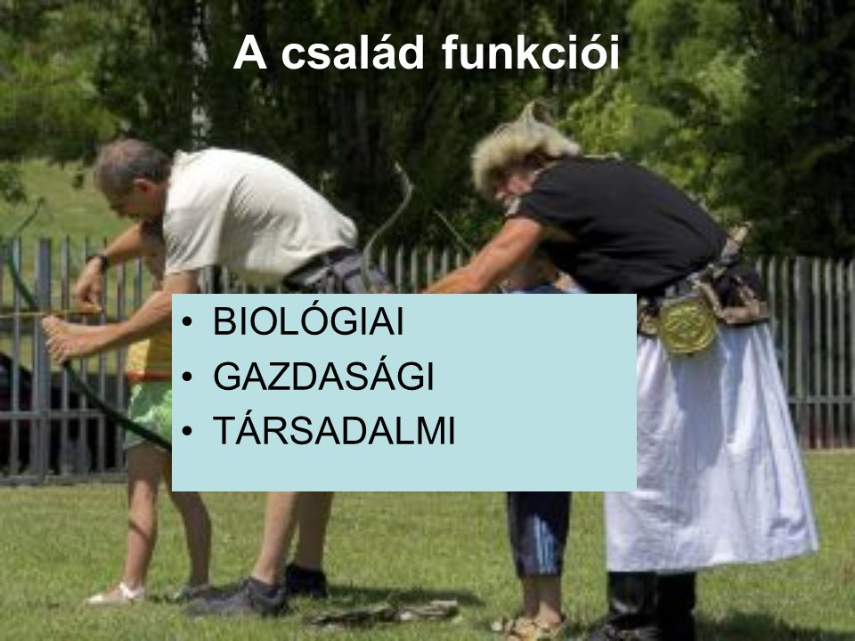 A család funkciói BIOLÓGIAI GAZDASÁGI TÁRSADALMI