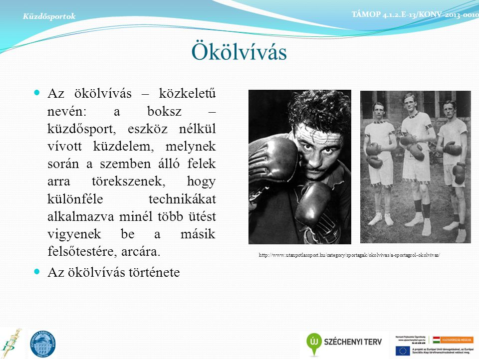 Küzdősportok TÁMOP 4.1.2.E-13/KONV-2013-0010. Ökölvívás.