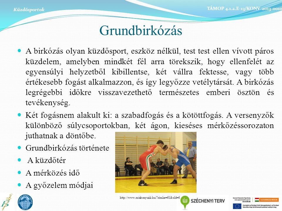 Küzdősportok TÁMOP 4.1.2.E-13/KONV-2013-0010. Grundbirkózás.