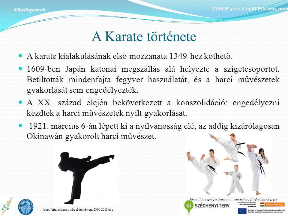 Küzdősportok TÁMOP 4.1.2.E-13/KONV-2013-0010. A Karate története. A karate kialakulásának első mozzanata 1349-hez köthető.
