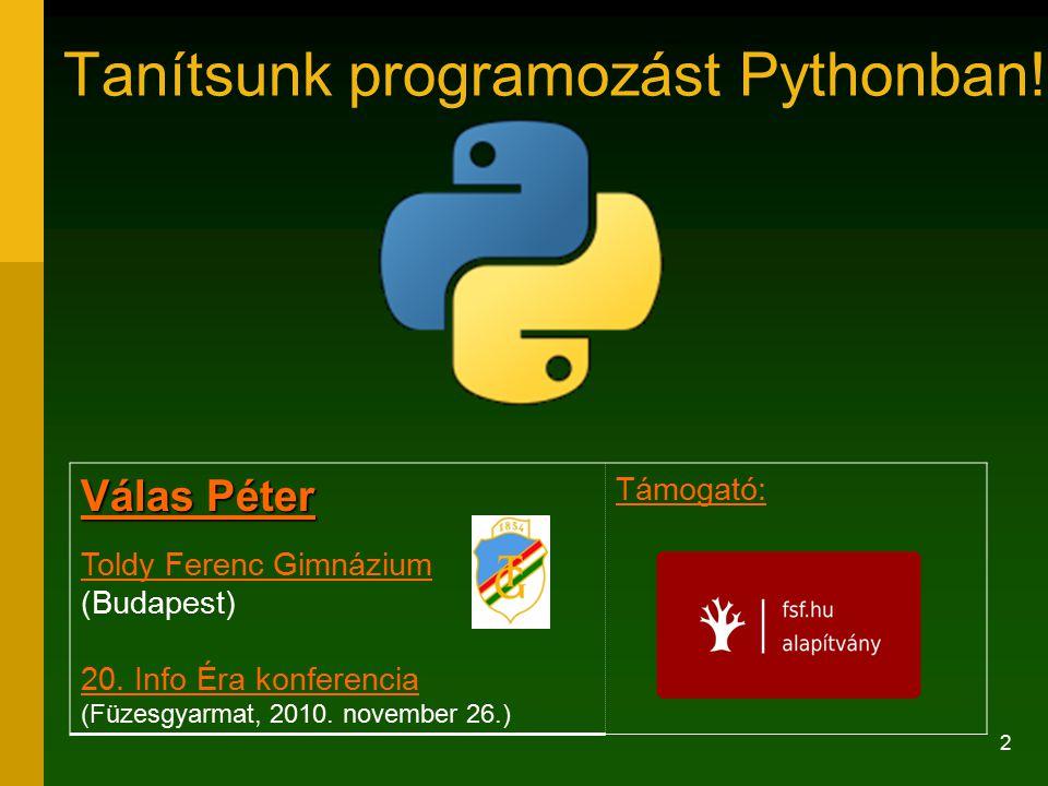 Tanítsunk programozást Pythonban!