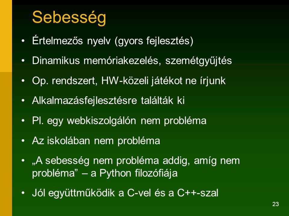 Sebesség Értelmezős nyelv (gyors fejlesztés)