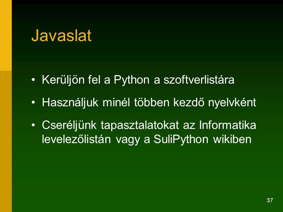 Javaslat Kerüljön fel a Python a szoftverlistára