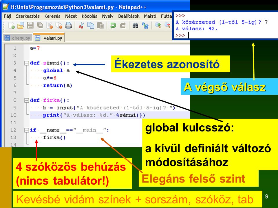 Ékezetes azonosító A végső válasz. global kulcsszó: a kívül definiált változó módosításához. 4 szóközös behúzás (nincs tabulátor!)