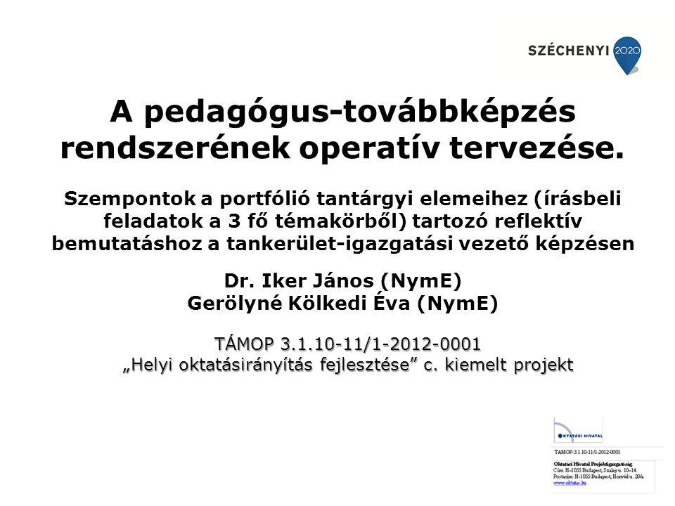 A pedagógus-továbbképzés rendszerének operatív tervezése