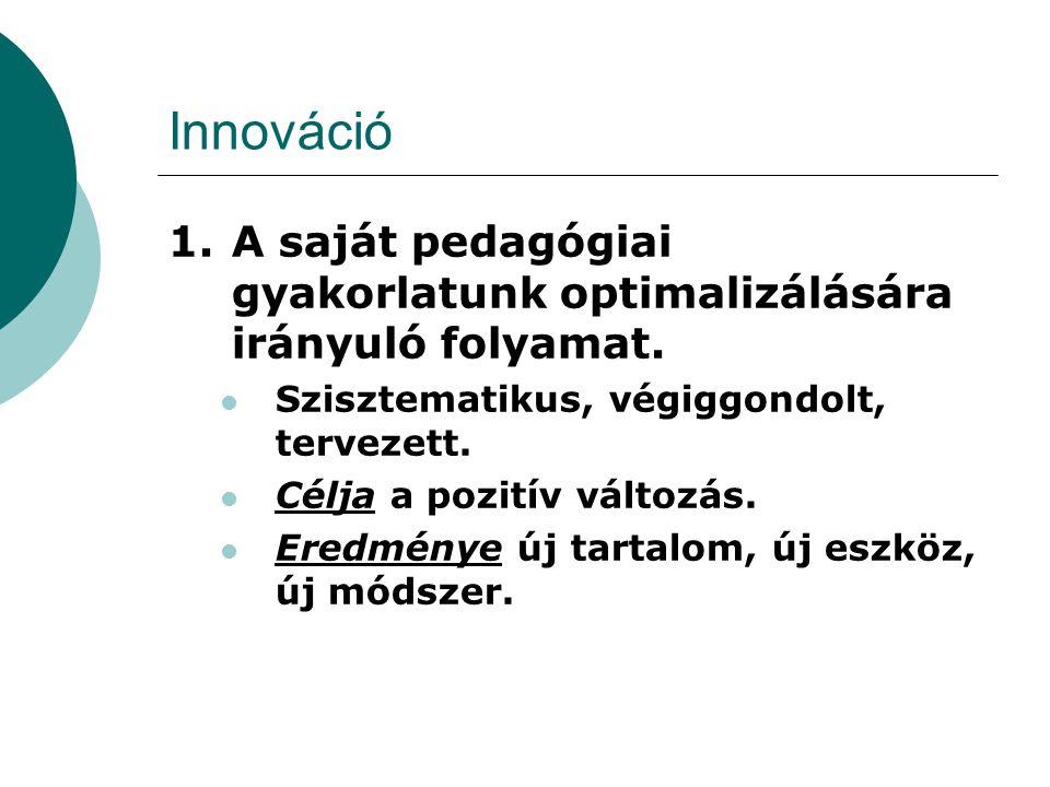 Innováció A saját pedagógiai gyakorlatunk optimalizálására irányuló folyamat. Szisztematikus, végiggondolt, tervezett.